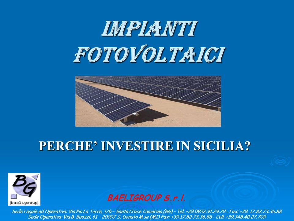 IMPIANTI FOTOVOLTAICI PERCHE INVESTIRE IN SICILIA.