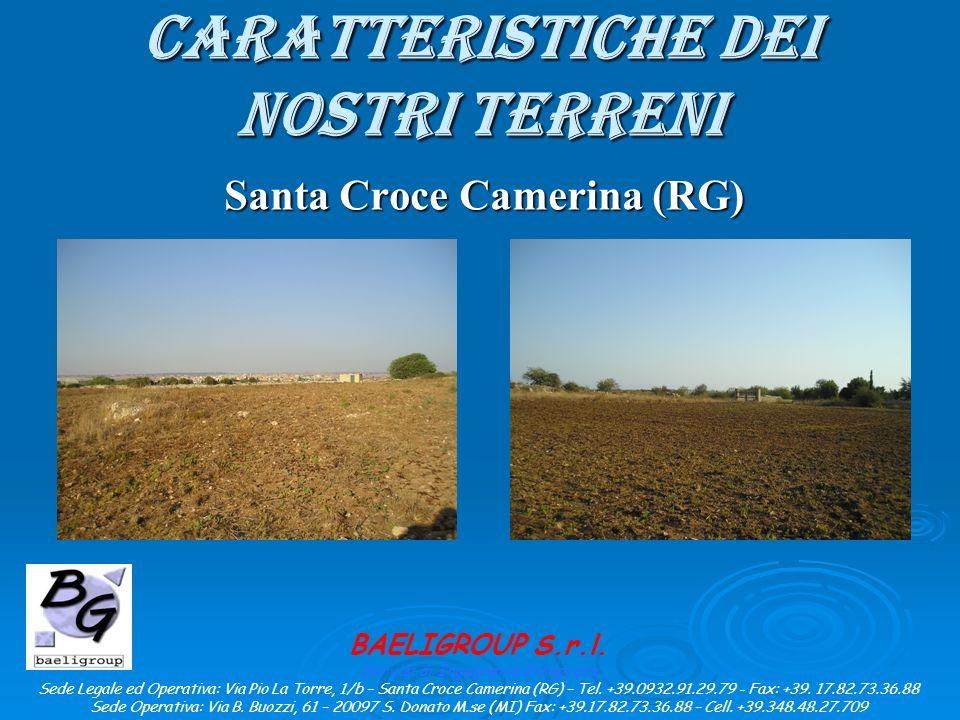 CARATTERISTICHE DEI NOSTRI TERRENI Santa Croce Camerina (RG) BAELIGROUP S.r.l.
