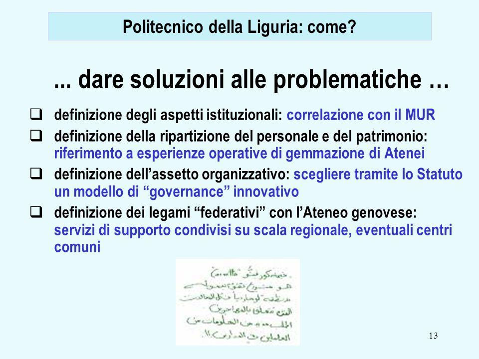 13... dare soluzioni alle problematiche … definizione degli aspetti istituzionali: correlazione con il MUR definizione della ripartizione del personal