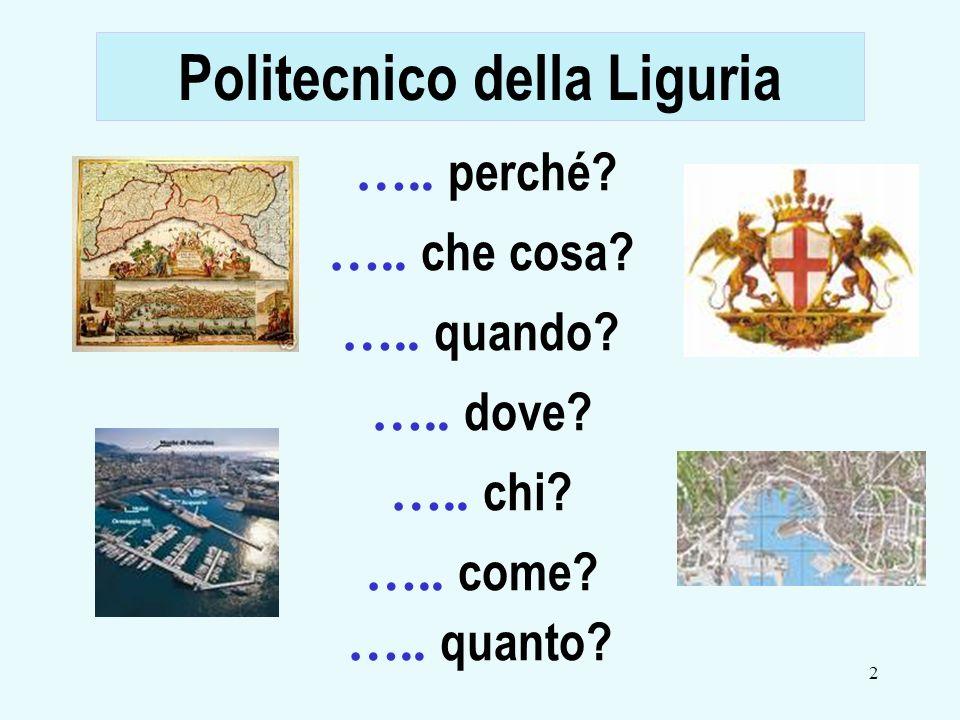 2 ….. perché? ….. che cosa? ….. quando? ….. dove? ….. chi? ….. come? ….. quanto? Politecnico della Liguria