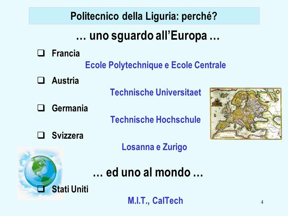 4 … uno sguardo allEuropa … Francia Ecole Polytechnique e Ecole Centrale Austria Technische Universitaet Germania Technische Hochschule Svizzera Losanna e Zurigo … ed uno al mondo … Stati Uniti M.I.T., CalTech Politecnico della Liguria: perché