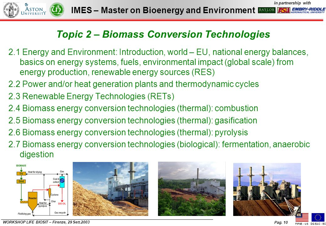 Pag. 10 IMES – Master on Bioenergy and Environment in partnership with FIPSE - USDG EAC - EC WORKSHOP LIFE BIOSIT – Firenze, 29 Sett.2003 Topic 2 – Bi