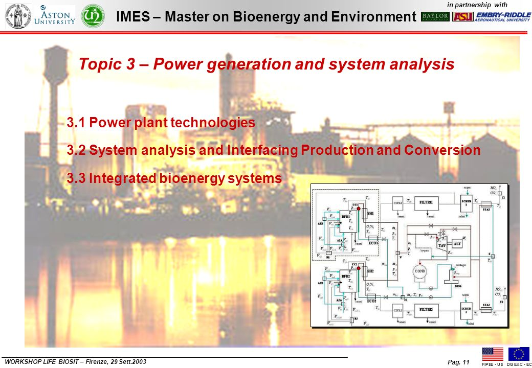Pag. 11 IMES – Master on Bioenergy and Environment in partnership with FIPSE - USDG EAC - EC WORKSHOP LIFE BIOSIT – Firenze, 29 Sett.2003 Topic 3 – Po