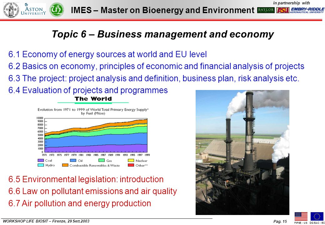 Pag. 15 IMES – Master on Bioenergy and Environment in partnership with FIPSE - USDG EAC - EC WORKSHOP LIFE BIOSIT – Firenze, 29 Sett.2003 Topic 6 – Bu