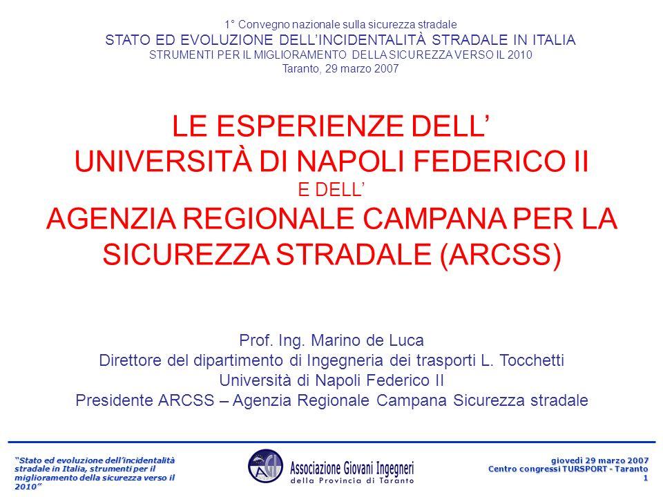 Stato ed evoluzione dellincidentalità stradale in Italia, strumenti per il miglioramento della sicurezza verso il 2010 giovedì 29 marzo 2007 Centro congressi TURSPORT - Taranto 12 4/2.