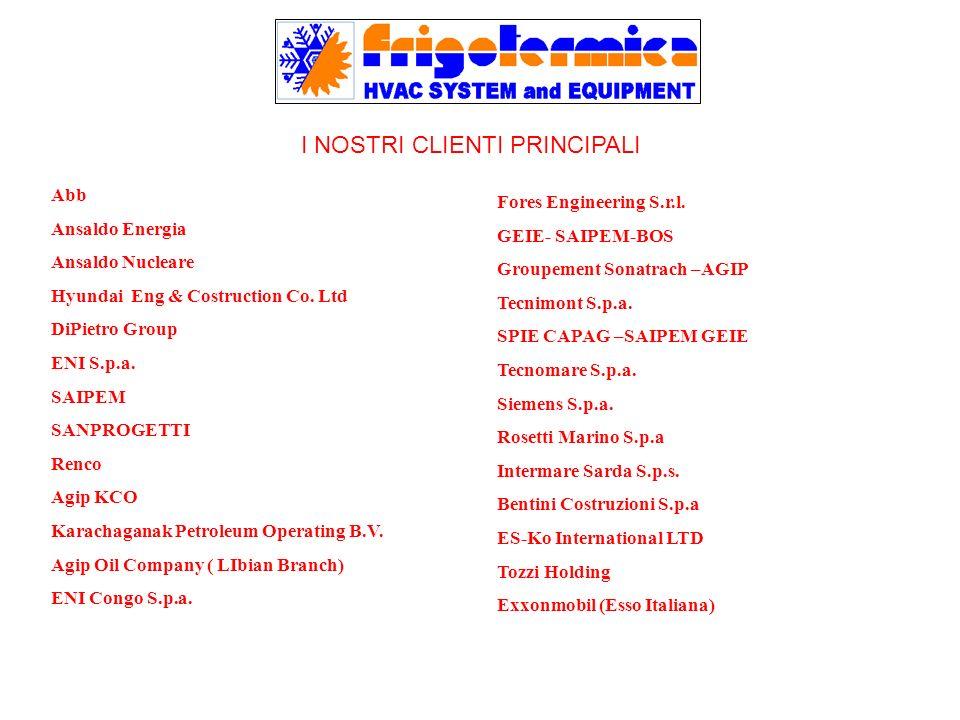 I NOSTRI CLIENTI PRINCIPALI Abb Ansaldo Energia Ansaldo Nucleare Hyundai Eng & Costruction Co. Ltd DiPietro Group ENI S.p.a. SAIPEM SANPROGETTI Renco