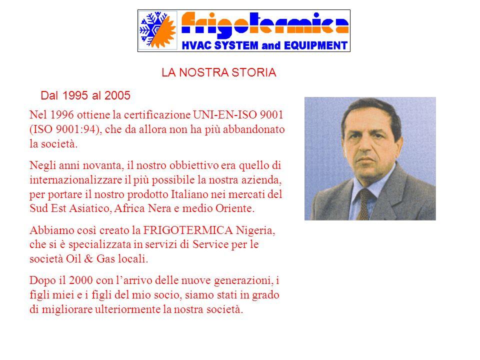 LA NOSTRA STORIA Nel 1996 ottiene la certificazione UNI-EN-ISO 9001 (ISO 9001:94), che da allora non ha più abbandonato la società. Negli anni novanta