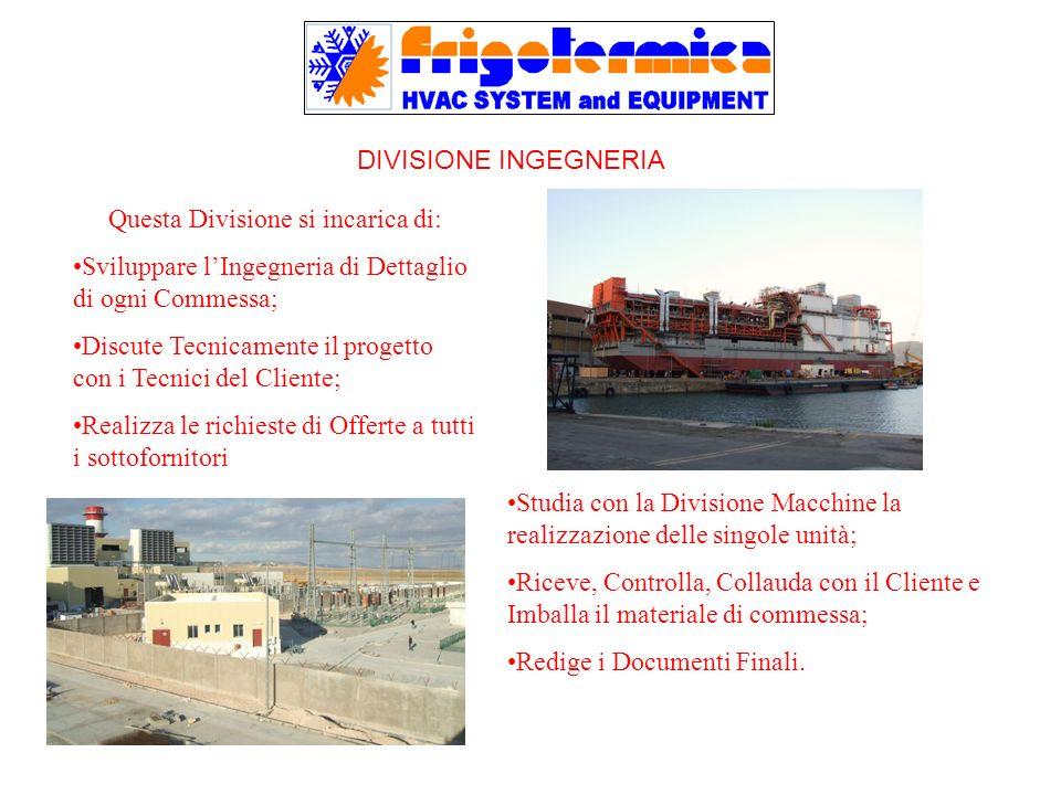 DIVISIONE INGEGNERIA Questa Divisione si incarica di: Sviluppare lIngegneria di Dettaglio di ogni Commessa; Discute Tecnicamente il progetto con i Tec