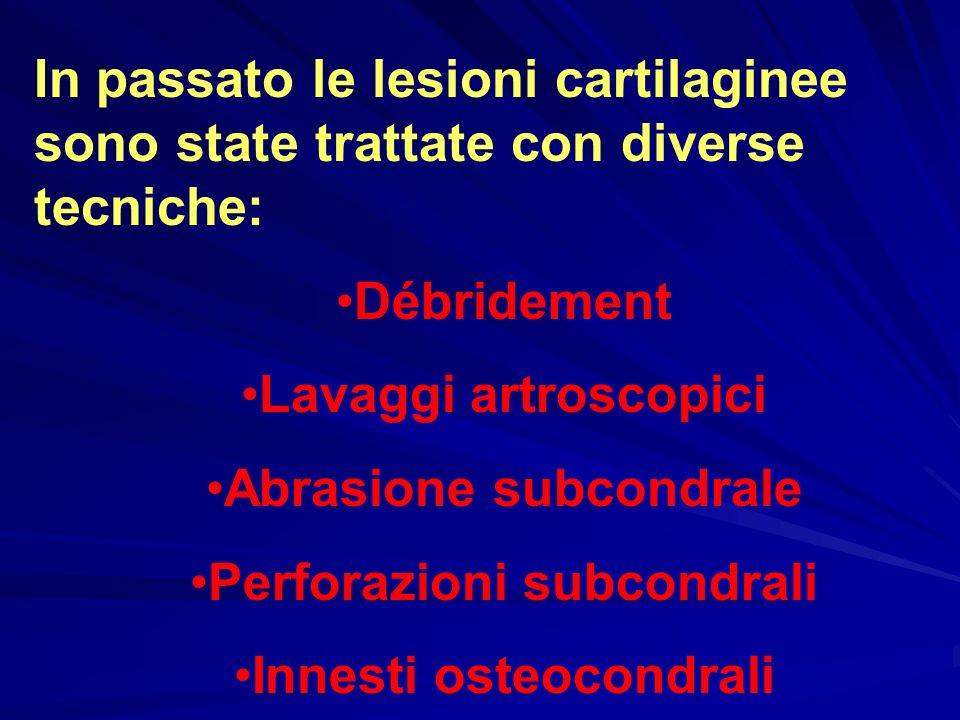 In passato le lesioni cartilaginee sono state trattate con diverse tecniche: Débridement Lavaggi artroscopici Abrasione subcondrale Perforazioni subco