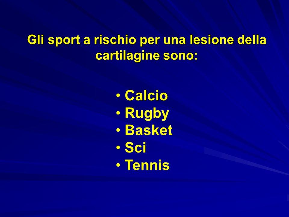 Gli sport a rischio per una lesione della cartilagine sono: Calcio Rugby Basket Sci Tennis