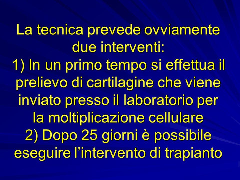 La tecnica prevede ovviamente due interventi: 1) In un primo tempo si effettua il prelievo di cartilagine che viene inviato presso il laboratorio per la moltiplicazione cellulare 2) Dopo 25 giorni è possibile eseguire lintervento di trapianto