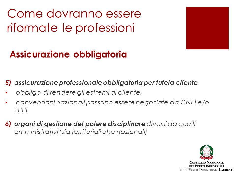 5) assicurazione professionale obbligatoria per tutela cliente obbligo di rendere gli estremi al cliente, convenzioni nazionali possono essere negozia