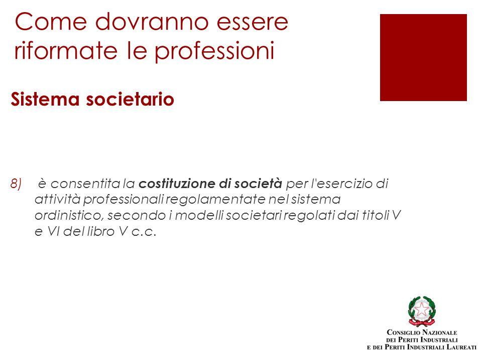 Sistema societario 8) è consentita la costituzione di società per l esercizio di attività professionali regolamentate nel sistema ordinistico, secondo i modelli societari regolati dai titoli V e VI del libro V c.c.