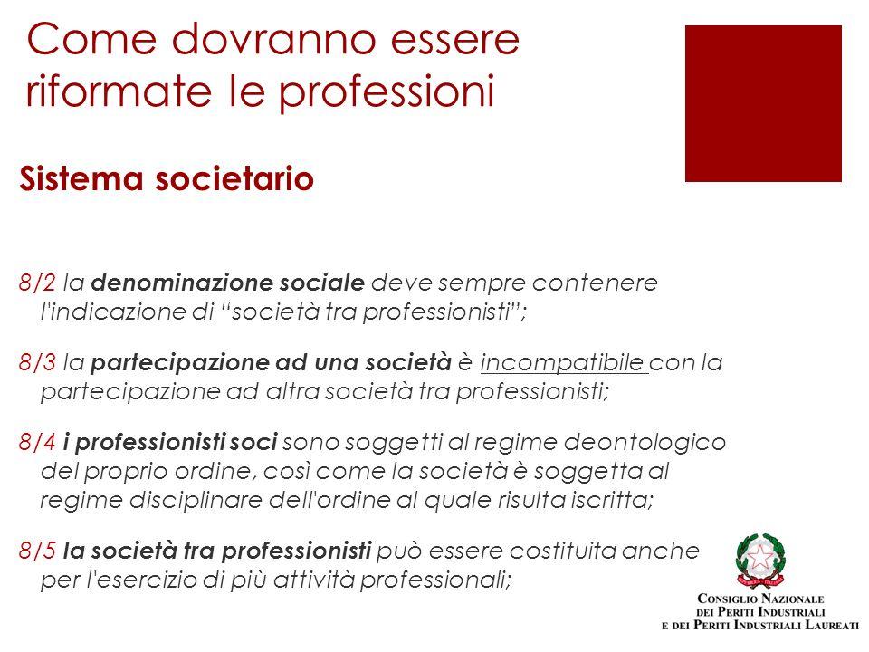 Sistema societario 8/2 la denominazione sociale deve sempre contenere l'indicazione di società tra professionisti; 8/3 la partecipazione ad una societ