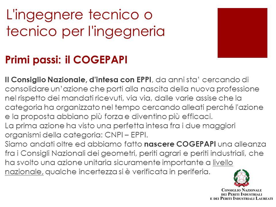 Primi passi: il COGEPAPI Il Consiglio Nazionale, d'intesa con EPPI, da anni sta cercando di consolidare unazione che porti alla nascita della nuova pr