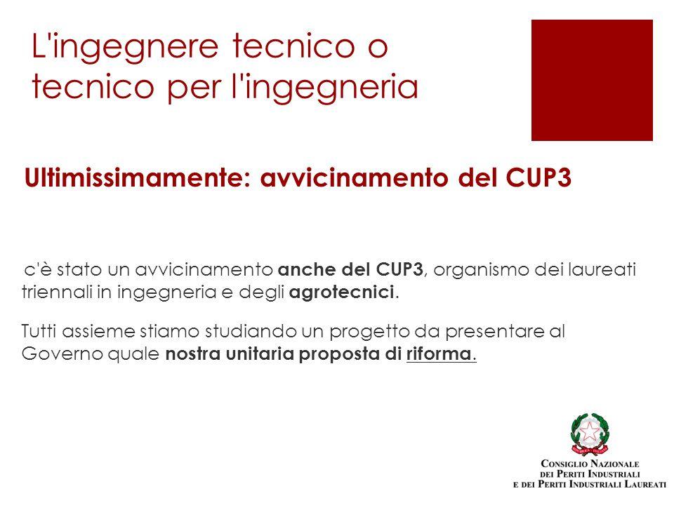 Ultimissimamente: avvicinamento del CUP3 c è stato un avvicinamento anche del CUP3, organismo dei laureati triennali in ingegneria e degli agrotecnici.