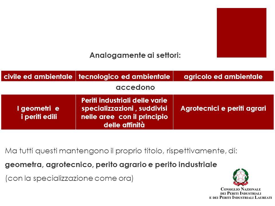 Analogamente ai settori: accedono civile ed ambientaletecnologico ed ambientaleagricolo ed ambientale I geometri e i periti edili Periti industriali d