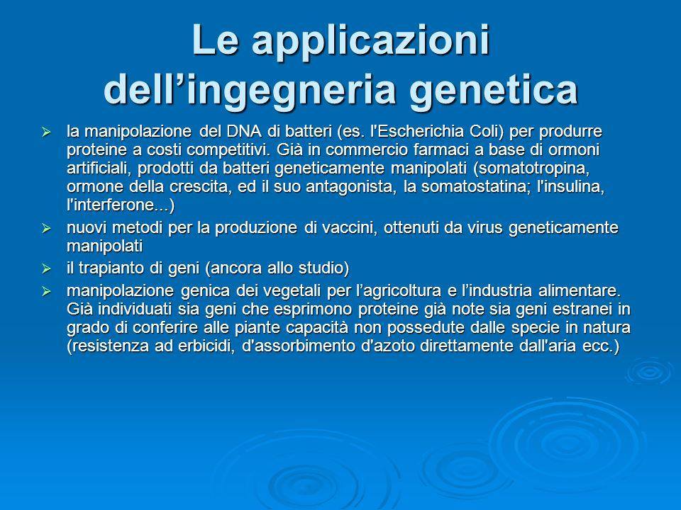 ingegneria genetica e clonazione E lapplicazione di tecniche di manipolazione del genoma o di embrioni. Si distingue in ingegneria genetica molecolare
