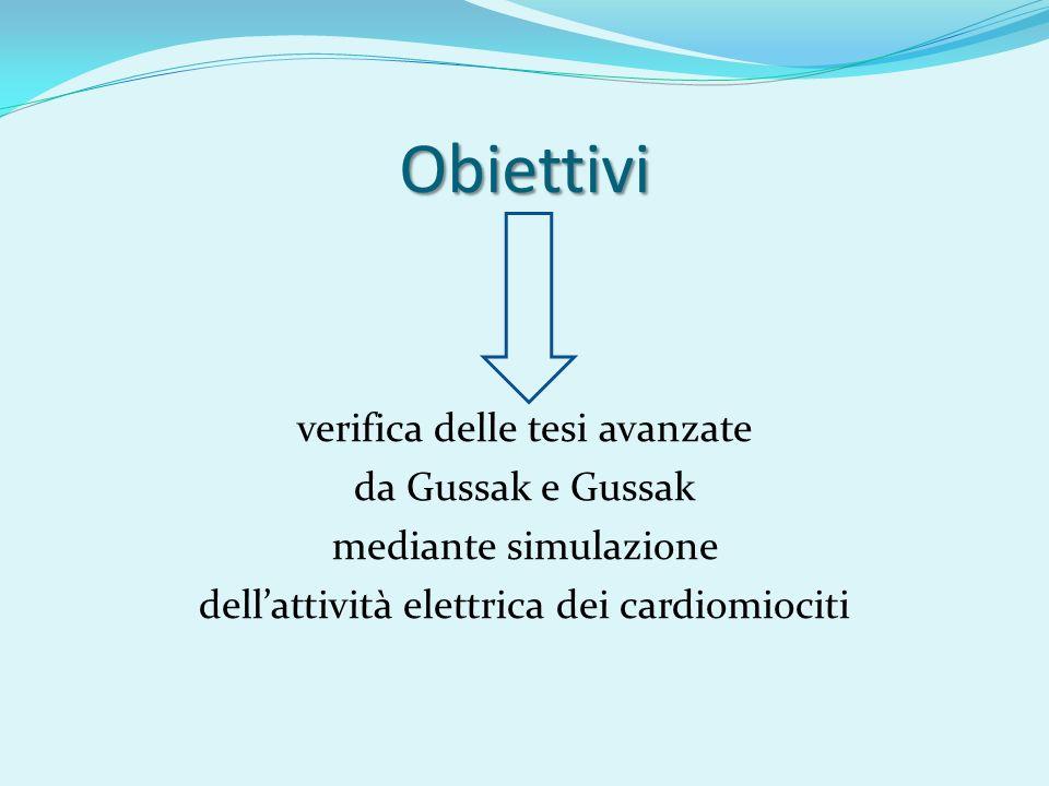 Obiettivi verifica delle tesi avanzate da Gussak e Gussak mediante simulazione dellattività elettrica dei cardiomiociti