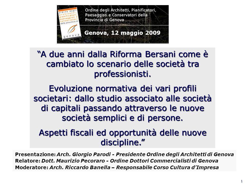 1 A due anni dalla Riforma Bersani come è cambiato lo scenario delle società tra professionisti. Evoluzione normativa dei vari profili societari: dall