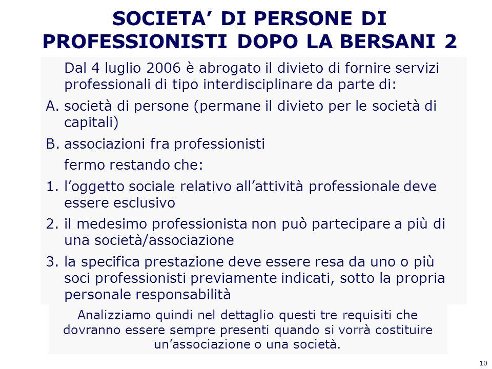 10 SOCIETA DI PERSONE DI PROFESSIONISTI DOPO LA BERSANI 2 Dal 4 luglio 2006 è abrogato il divieto di fornire servizi professionali di tipo interdiscip