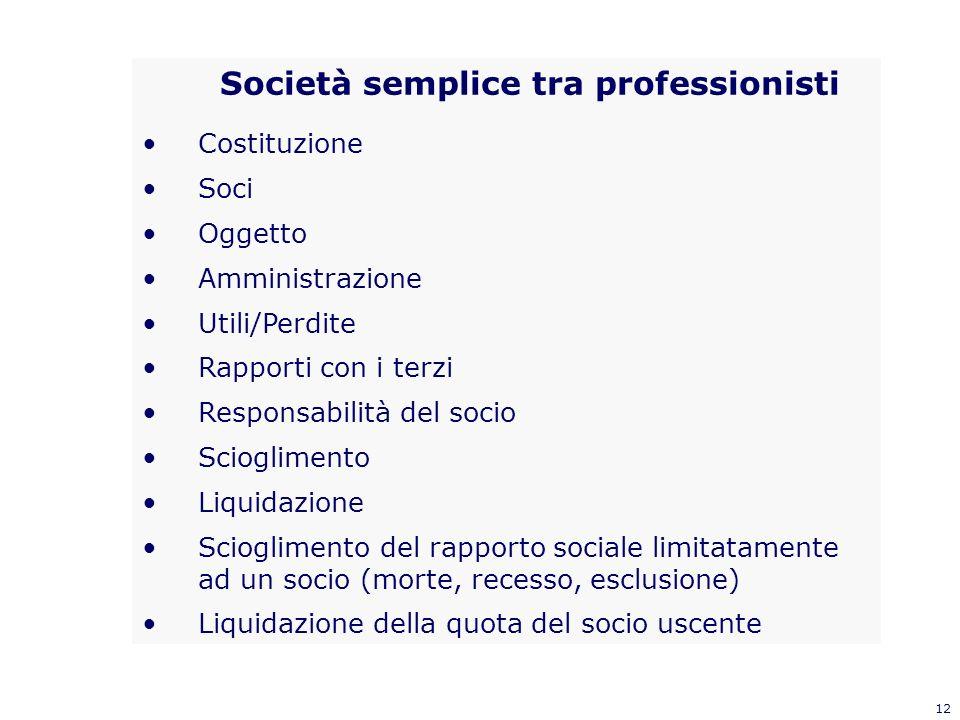 12 Società semplice tra professionisti Costituzione Soci Oggetto Amministrazione Utili/Perdite Rapporti con i terzi Responsabilità del socio Scioglime