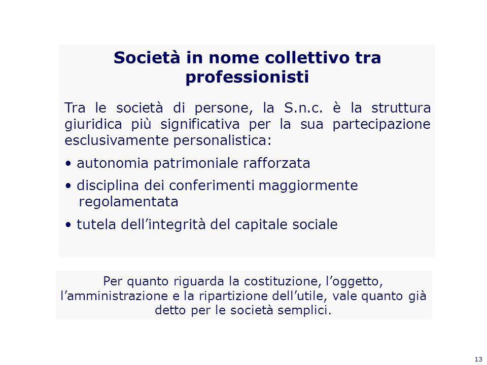 13 Società in nome collettivo tra professionisti Tra le società di persone, la S.n.c. è la struttura giuridica più significativa per la sua partecipaz