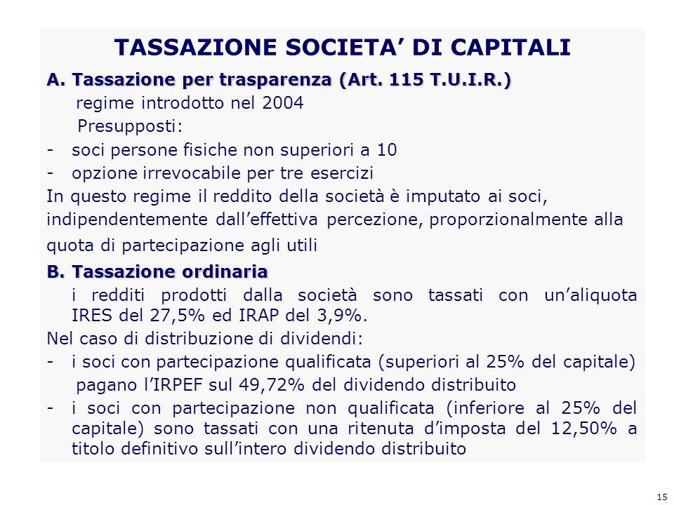 15 TASSAZIONE SOCIETA DI CAPITALI A.Tassazione per trasparenza (Art. 115 T.U.I.R.) regime introdotto nel 2004 Presupposti: -soci persone fisiche non s