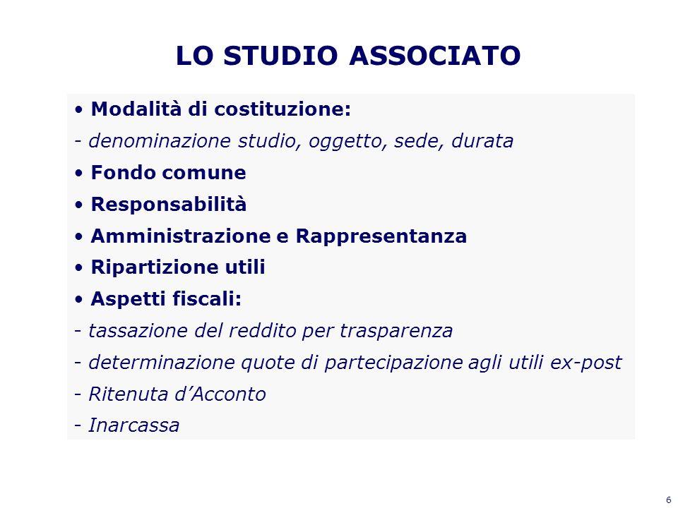 6 LO STUDIO ASSOCIATO Modalità di costituzione: - denominazione studio, oggetto, sede, durata Fondo comune Responsabilità Amministrazione e Rappresent