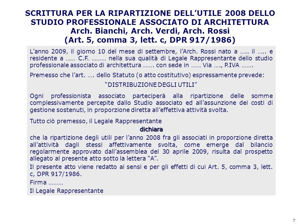 7 SCRITTURA PER LA RIPARTIZIONE DELLUTILE 2008 DELLO STUDIO PROFESSIONALE ASSOCIATO DI ARCHITETTURA Arch. Bianchi, Arch. Verdi, Arch. Rossi (Art. 5, c
