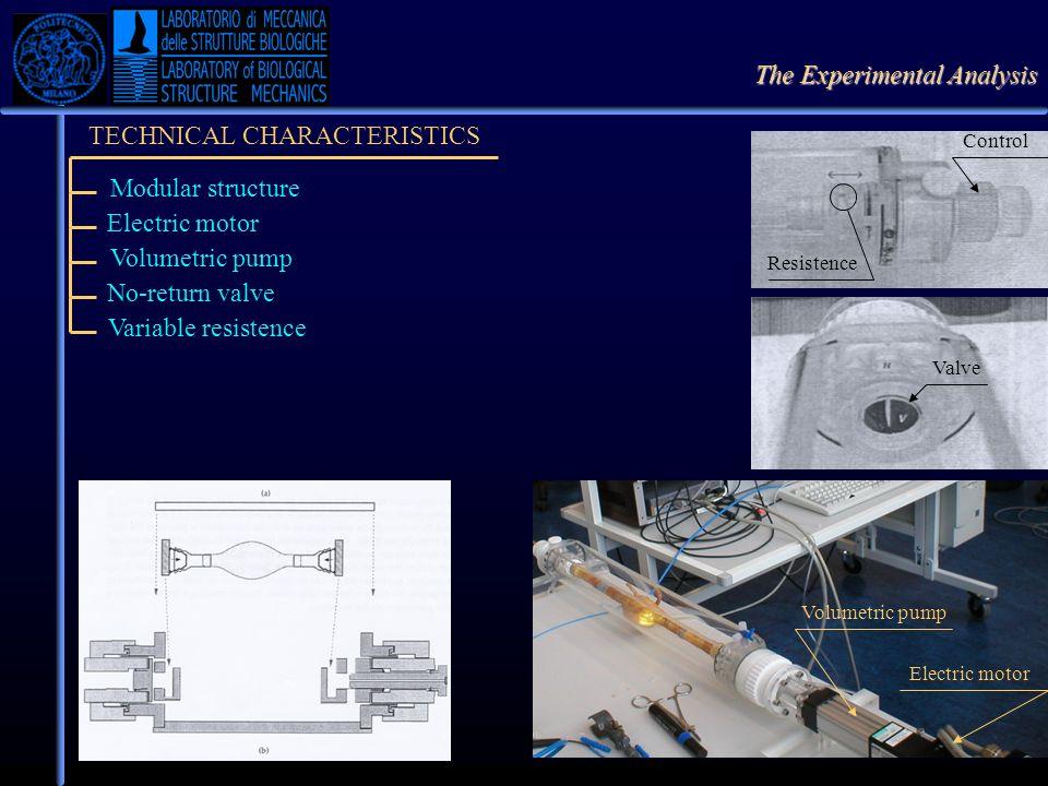 The Experimental Analysis TECHNICAL CHARACTERISTICS Modular structure Electric motor Volumetric pump Electric motor Volumetric pump No-return valve Va