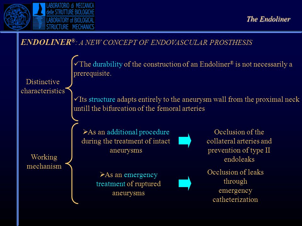 ENDOLINER ® : A NEW CONCEPT OF ENDOVASCULAR PROSTHESIS Distinctive characteristics The durability of the construction of an Endoliner ® is not necessa