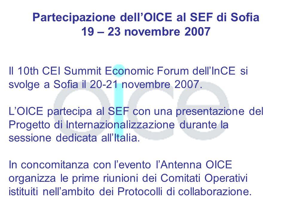 Partecipazione dellOICE al SEF di Sofia 19 – 23 novembre 2007 Il 10th CEI Summit Economic Forum dellInCE si svolge a Sofia il 20-21 novembre 2007.