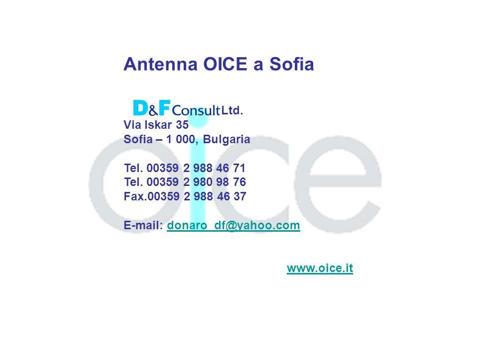 Antenna OICE a Sofia Ltd. Via Iskar 35 Sofia – 1 000, Bulgaria Tel.