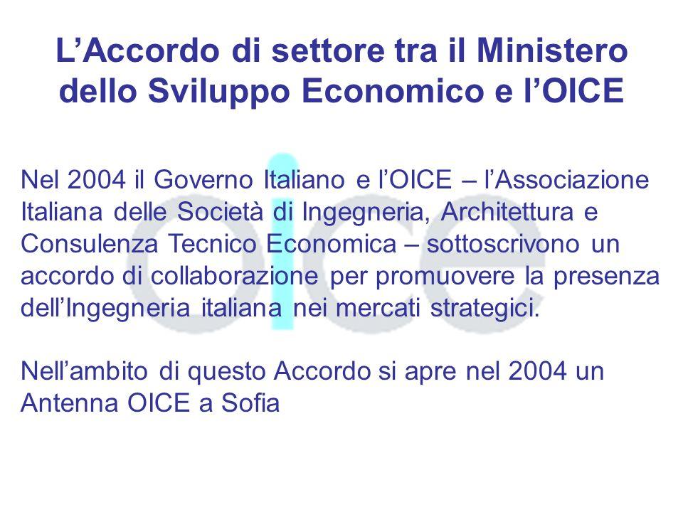 LAccordo di settore tra il Ministero dello Sviluppo Economico e lOICE Nel 2004 il Governo Italiano e lOICE – lAssociazione Italiana delle Società di Ingegneria, Architettura e Consulenza Tecnico Economica – sottoscrivono un accordo di collaborazione per promuovere la presenza dellIngegneria italiana nei mercati strategici.