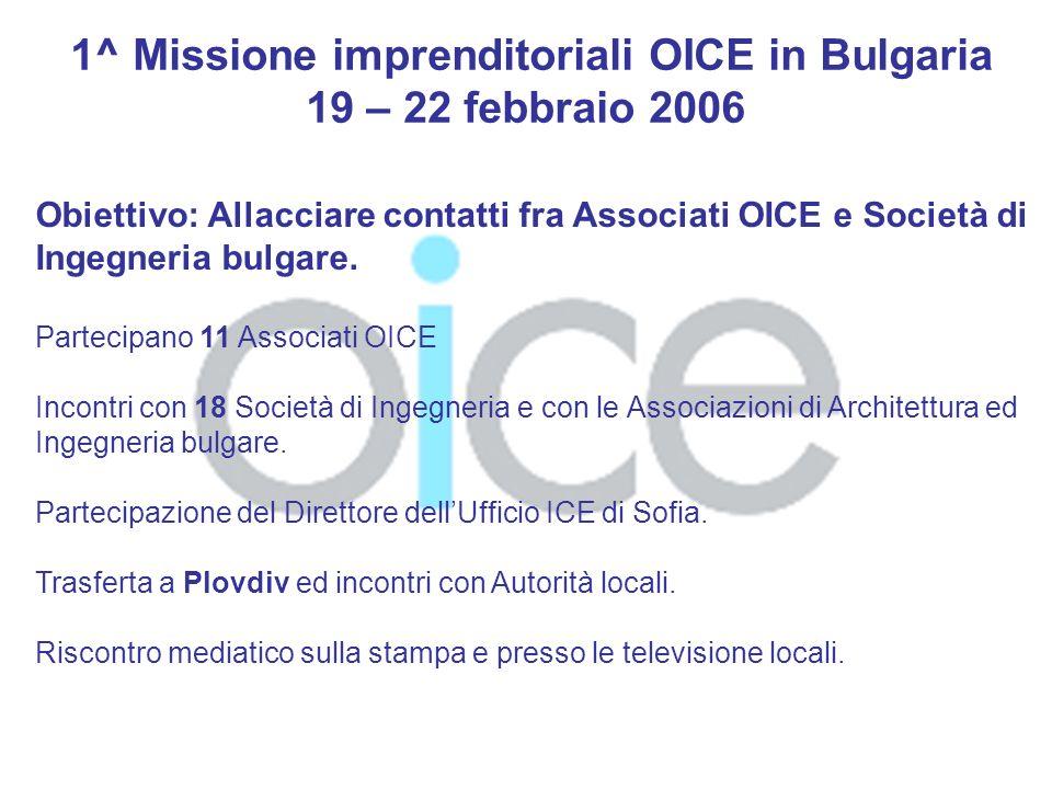 Settembre 2008 Visita OICE, ANCE, OAR in Bulgaria 29 settembre 2008 il Presidente dellOICE Arch.