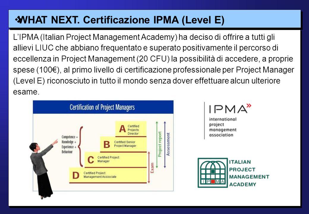 WHAT NEXT. Certificazione IPMA (Level E) LIPMA (Italian Project Management Academy) ha deciso di offrire a tutti gli allievi LIUC che abbiano frequent
