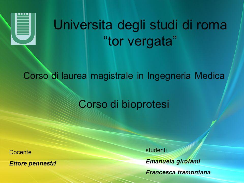 Universita degli studi di roma tor vergata Corso di laurea magistrale in Ingegneria Medica Corso di bioprotesi Docente Ettore pennestri studenti Emanu