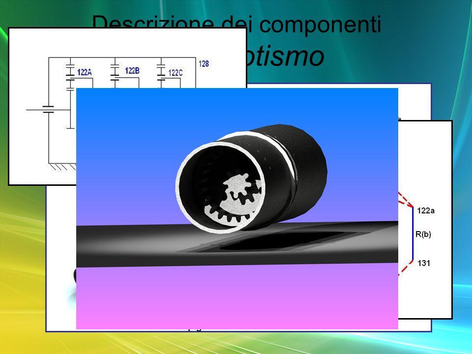 Descrizione dei componenti primo rotismo 108 pignone motore 131 122a satelliti 122b 133 122c 140 pignone uscita 128 corona