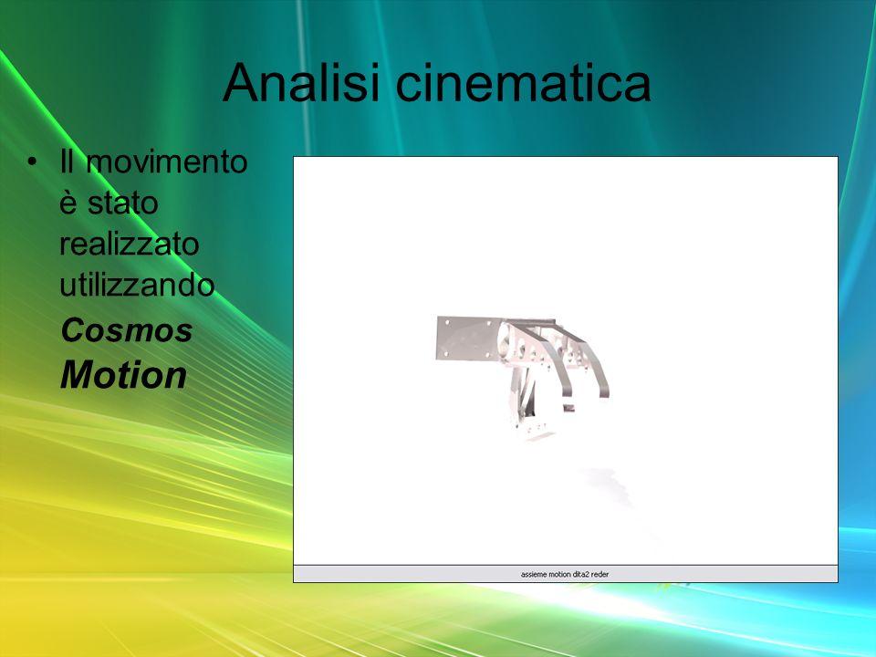 Analisi cinematica Il movimento è stato realizzato utilizzando Cosmos Motion