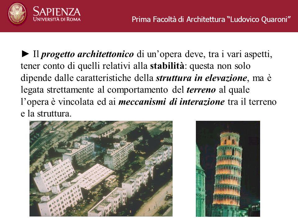 Prima Facoltà di Architettura Ludovico Quaroni Il progetto architettonico di unopera deve, tra i vari aspetti, tener conto di quelli relativi alla sta