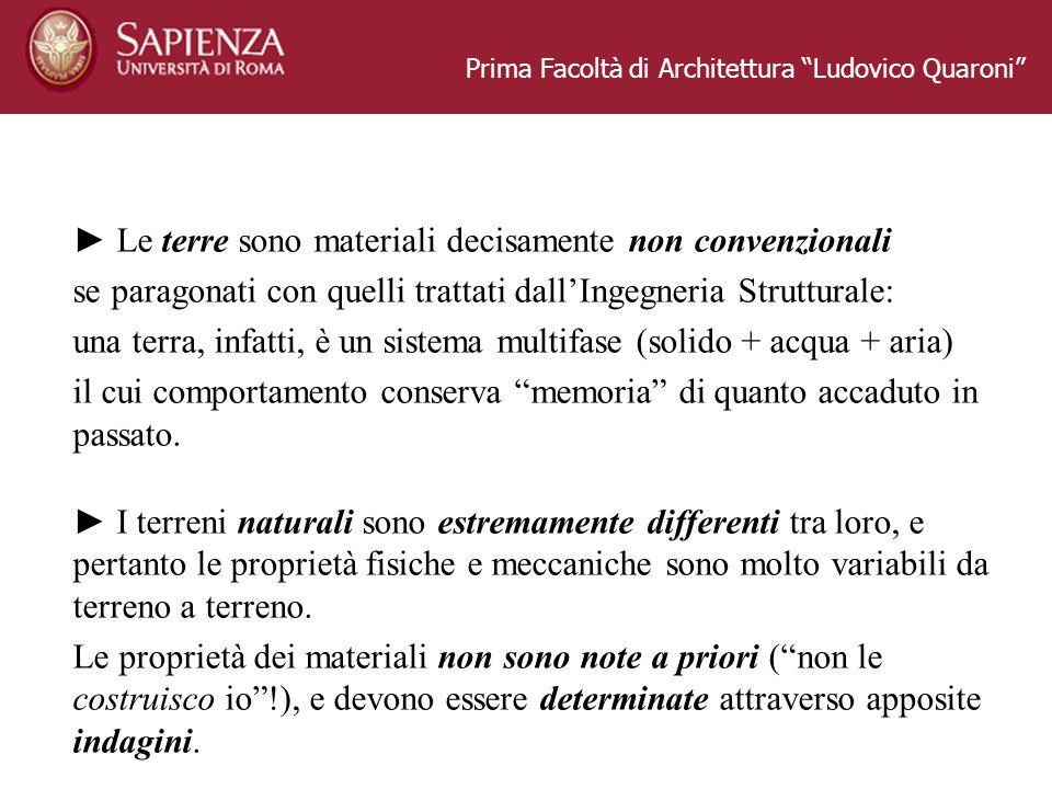Prima Facoltà di Architettura Ludovico Quaroni Le terre sono materiali decisamente non convenzionali se paragonati con quelli trattati dallIngegneria