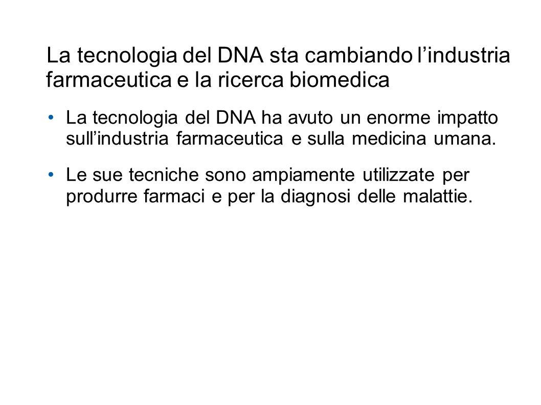 La tecnologia del DNA sta cambiando lindustria farmaceutica e la ricerca biomedica La tecnologia del DNA ha avuto un enorme impatto sullindustria farmaceutica e sulla medicina umana.