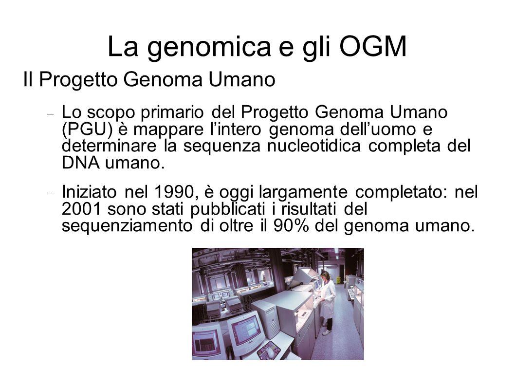 La genomica e gli OGM Il Progetto Genoma Umano Lo scopo primario del Progetto Genoma Umano (PGU) è mappare lintero genoma delluomo e determinare la sequenza nucleotidica completa del DNA umano.