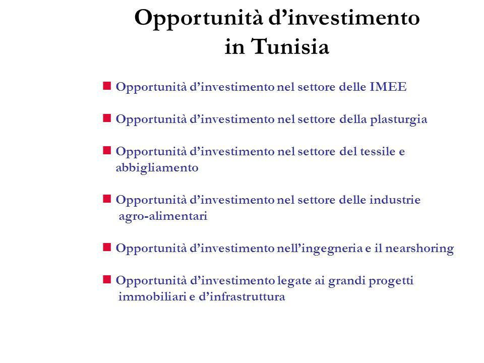 Opportunità dinvestimento nel settore delle IMEE Opportunità dinvestimento nel settore della plasturgia Opportunità dinvestimento nel settore del tess