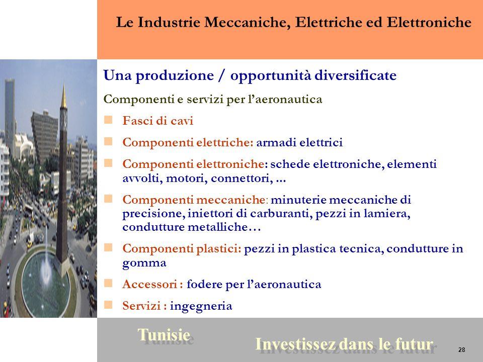 28 Tunisie Investissez dans le futur 28 Una produzione / opportunità diversificate Componenti e servizi per laeronautica Fasci di cavi Componenti elet