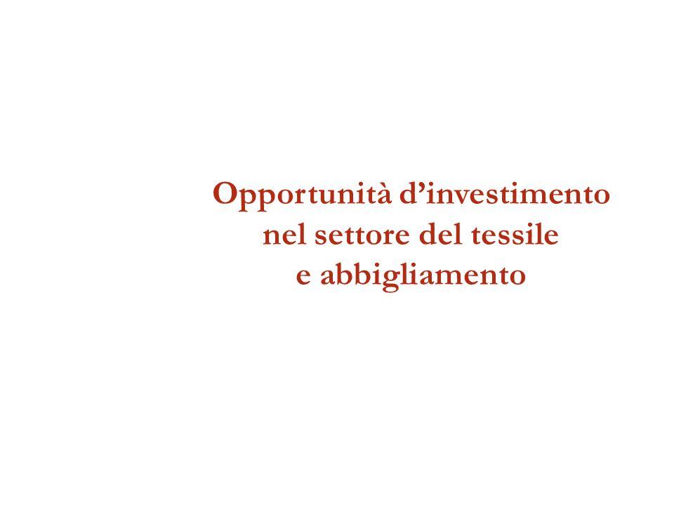 Opportunità dinvestimento nel settore del tessile e abbigliamento