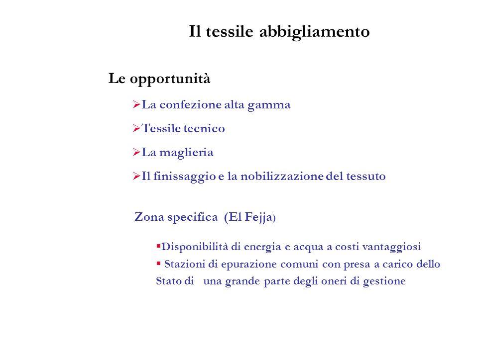 Le opportunità La confezione alta gamma Tessile tecnico La maglieria Il finissaggio e la nobilizzazione del tessuto Zona specifica (El Fejja ) Disponi