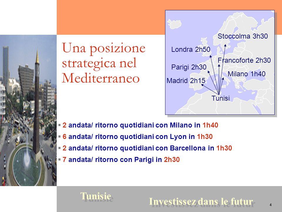 4 Tunisie Investissez dans le futur 4 Una posizione strategica nel Mediterraneo 2 andata/ ritorno quotidiani con Milano in 1h40 6 andata/ ritorno quot