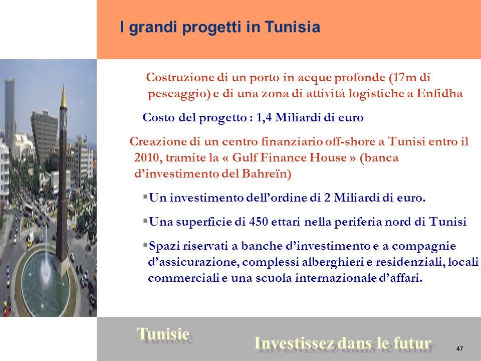 47 Tunisie Investissez dans le futur 47 Costruzione di un porto in acque profonde (17m di pescaggio) e di una zona di attività logistiche a Enfidha Co